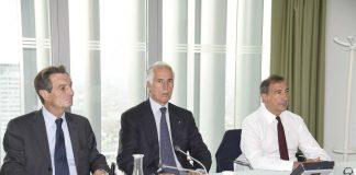 Olimpiadi 2026, il presidente della Regione Lombardia Attilio Fontana, al tavolo con il presidente del Coni Malagò e il sindaco di Milano Sala.