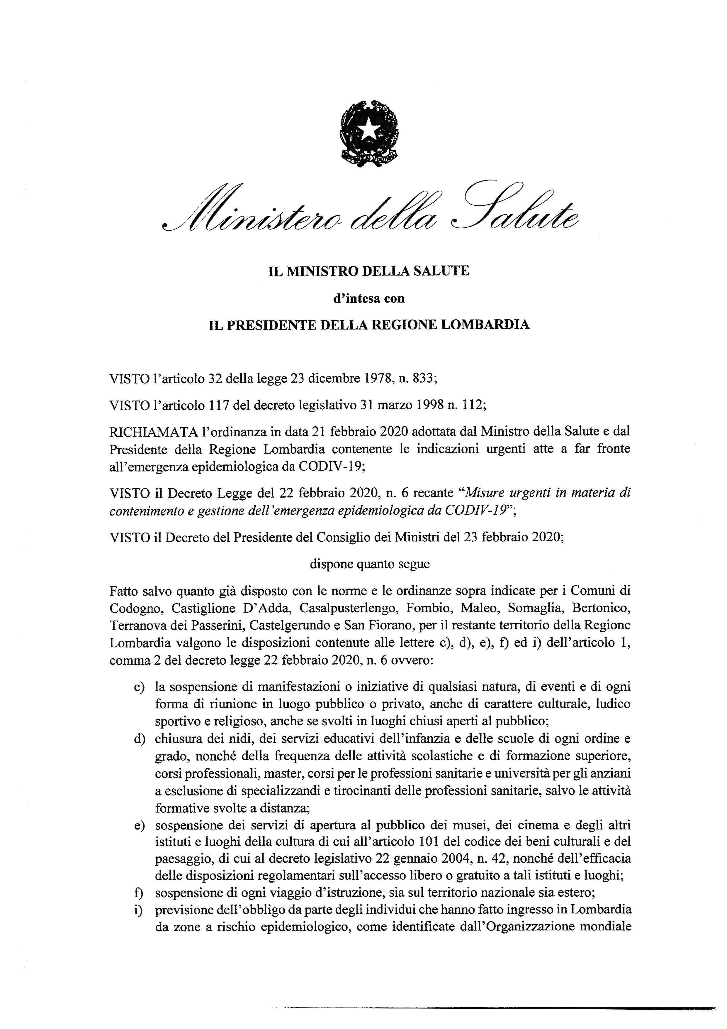 Coronavirus Da Regione Ordinanza Con Disposizioni Per Tutta La Lombardia