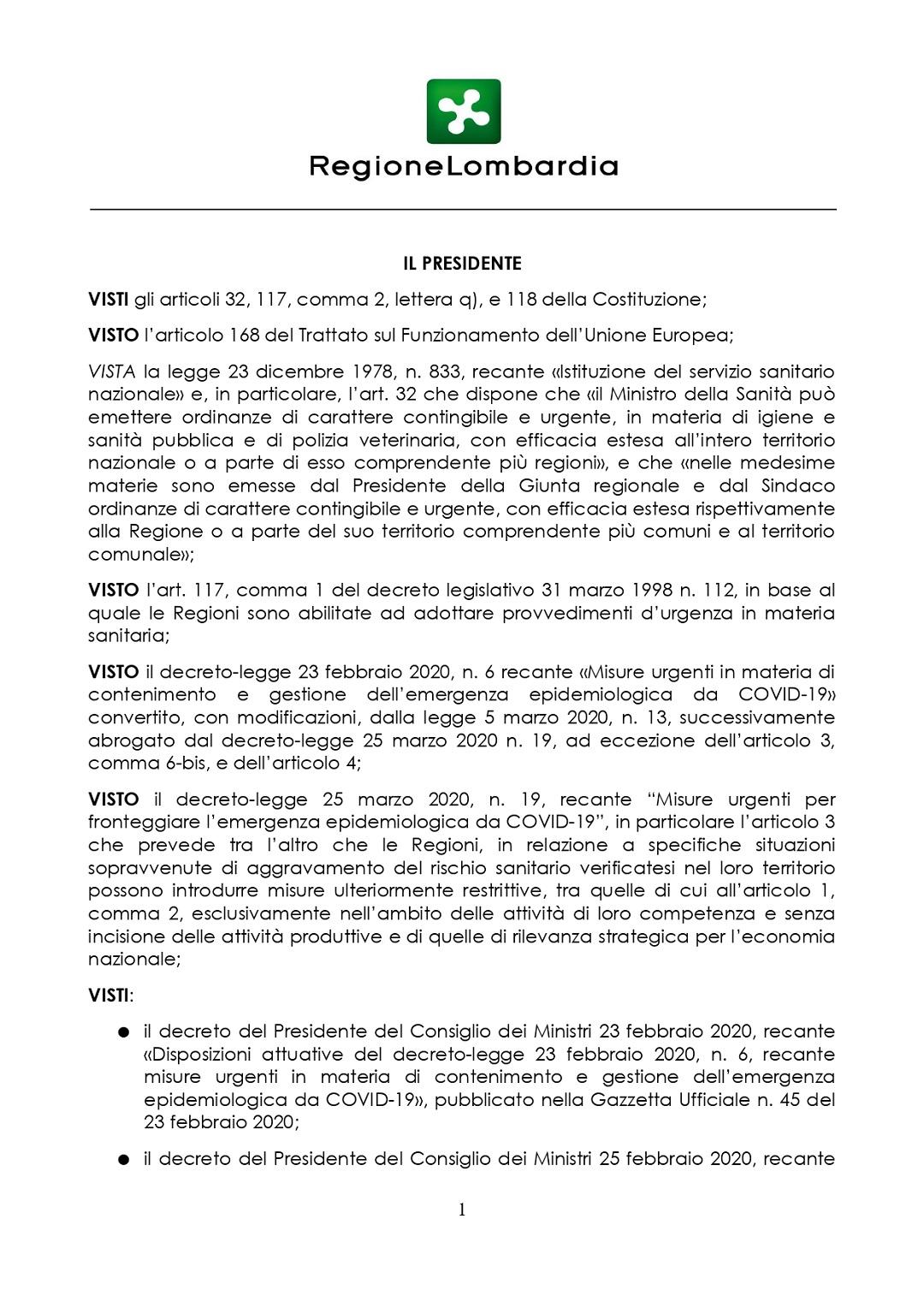 coronavirus nuova ordinanza fase2