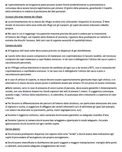 L'Ordinanza di Regione Lombardia, alle pagine 13 e 14, per la parte riguardante le linee guida da seguire per la riapertura dei rifugi alpini