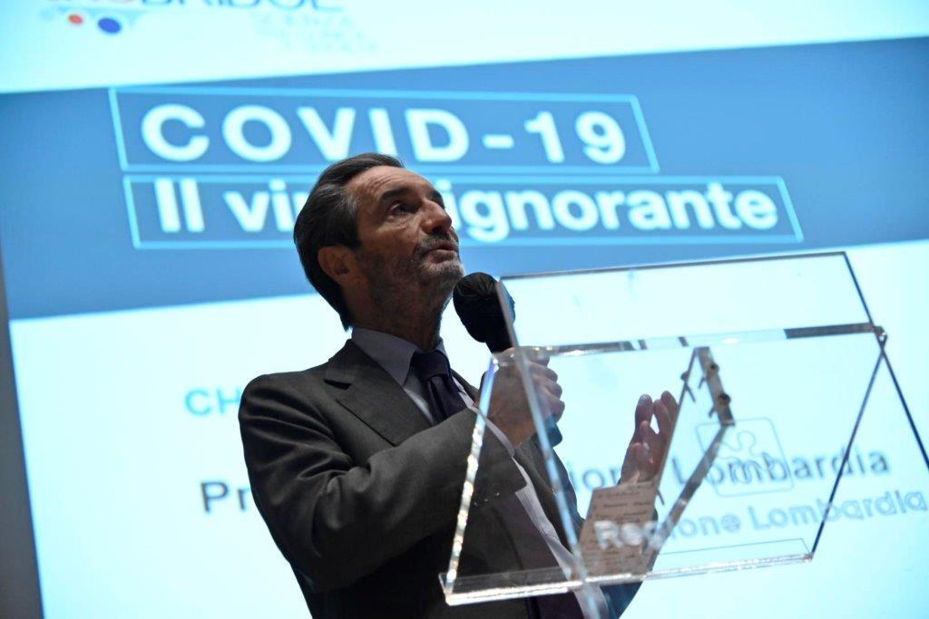 Il presidente Fontana al convegno coronavirus 'Covid 19, il virus ignorante'