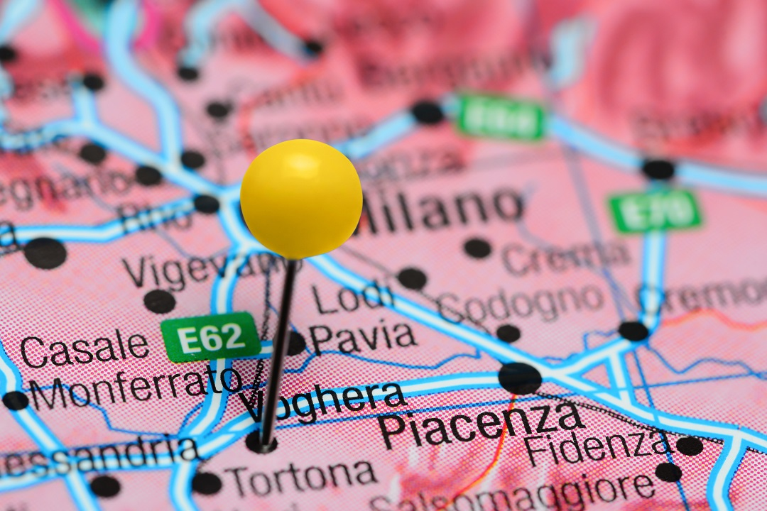Posizione topografica di Voghera