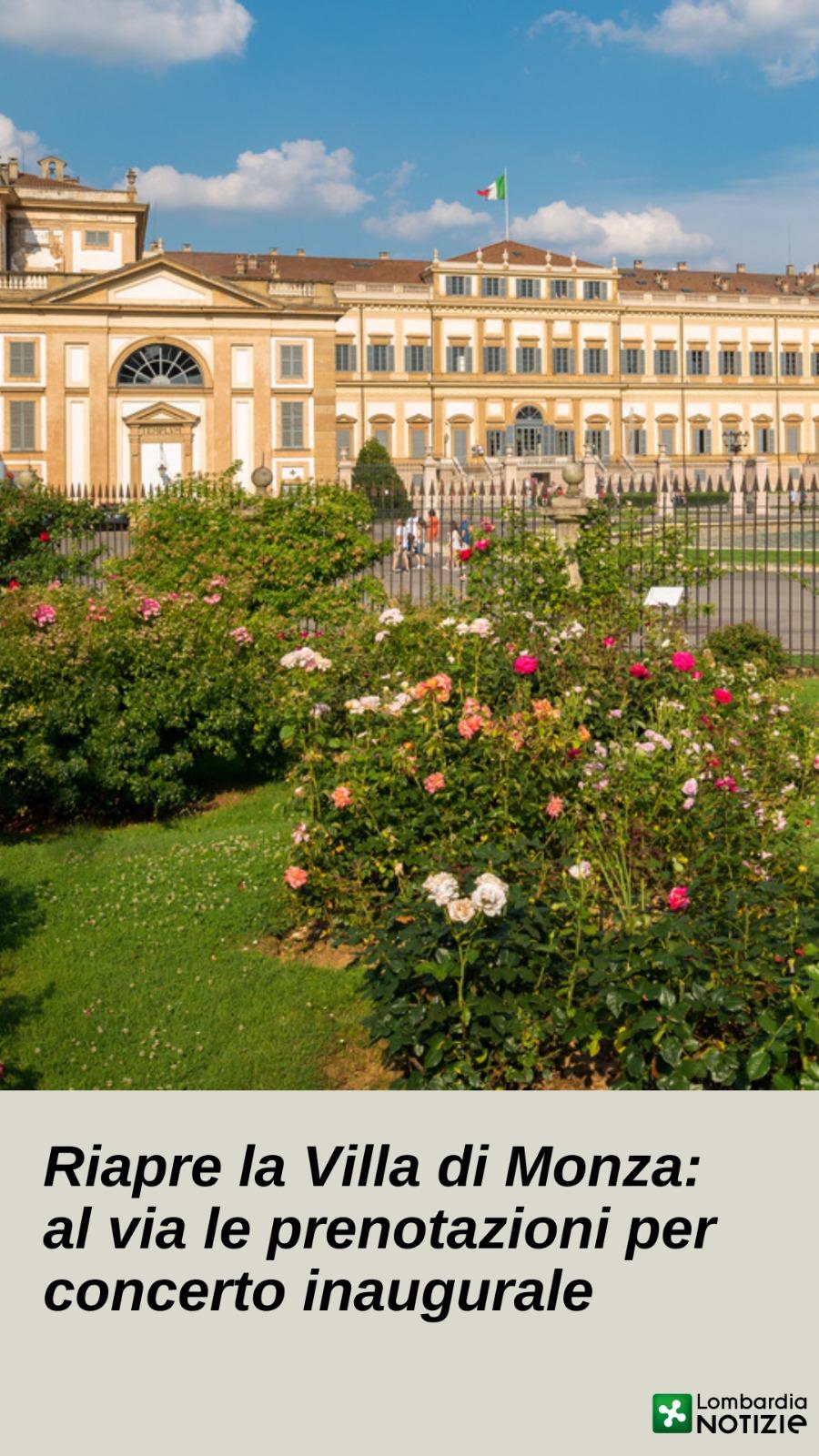 Riapre la Villa di Monza, al via le prenotazioni per concerto inaugurale
