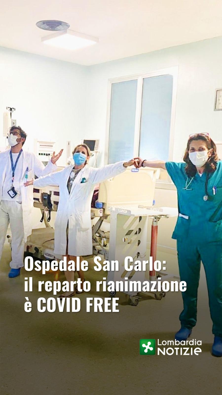 Ospedale San Carlo: il reparto rianimazione è COVID FREE