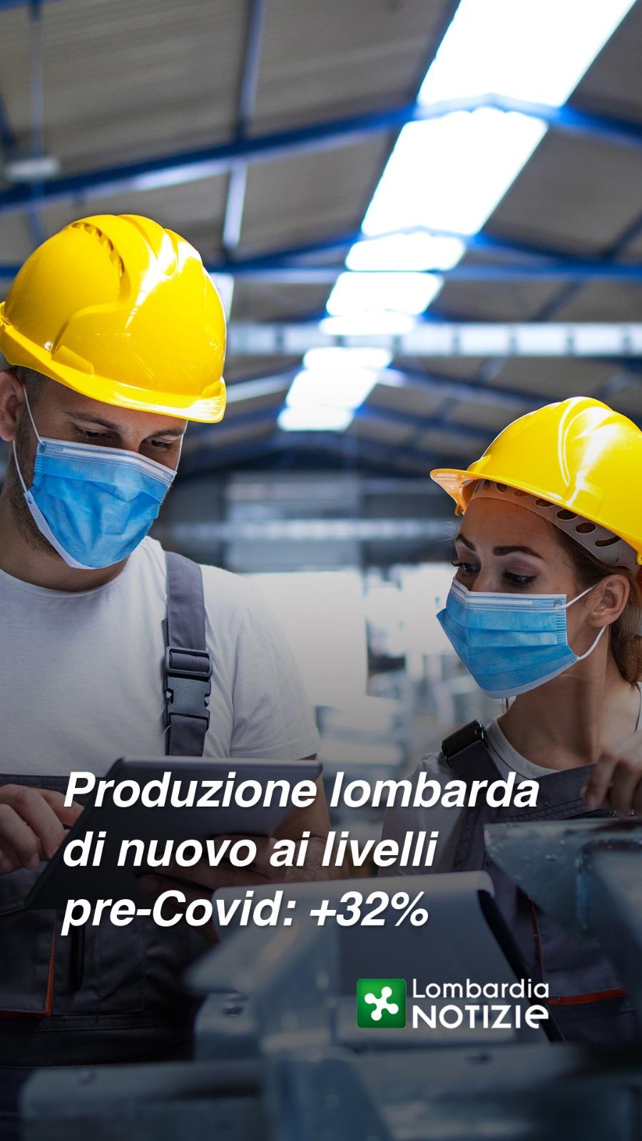 Produzione lombarda di nuovo ai livelli pre-Covid: +32%