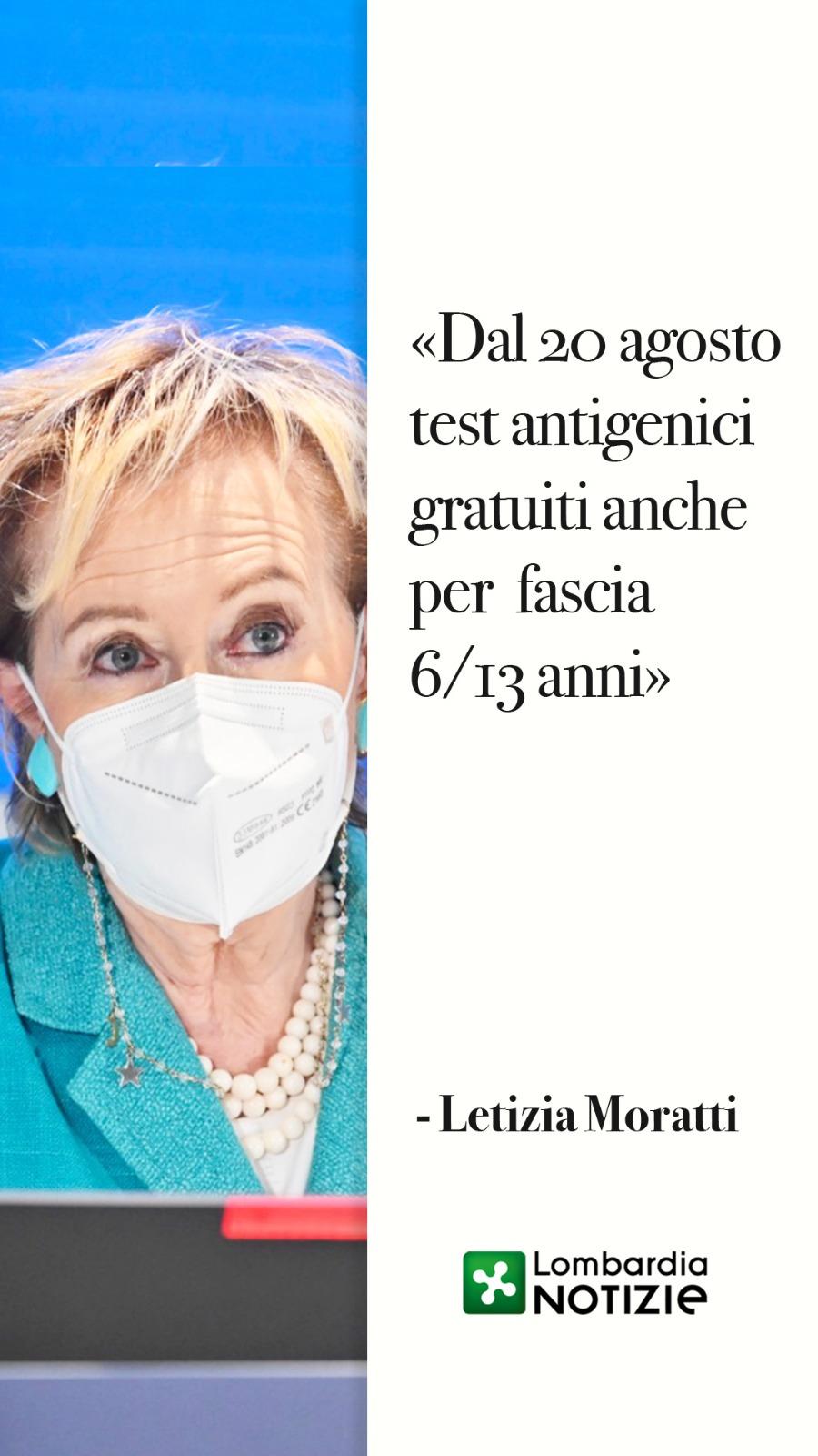 Moratti: dal 20 Agosto test antigenici anche per fascia 6/13 anni