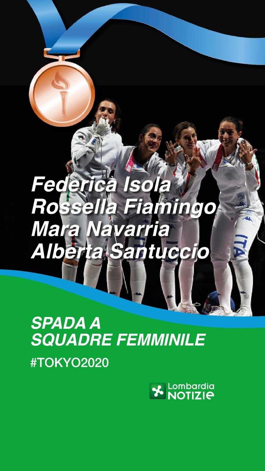 Tokyo 2020: Bronzo spada a squadre femminile